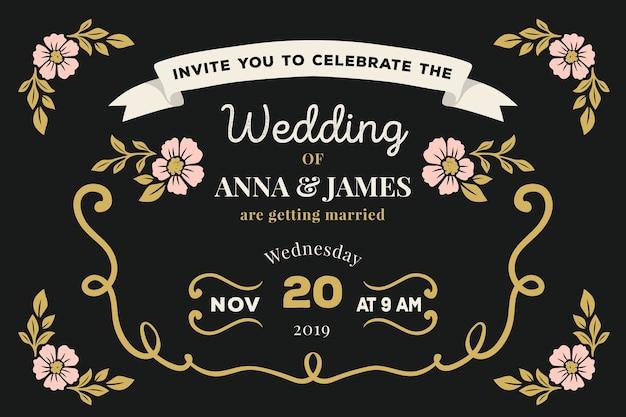 テンプレート結婚式招待状レトロ
