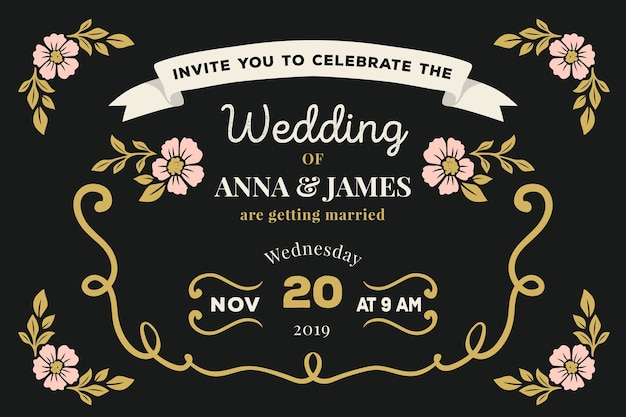 Шаблон свадебного приглашения ретро