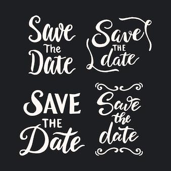 日付の結婚式のレタリングコレクションを保存します。