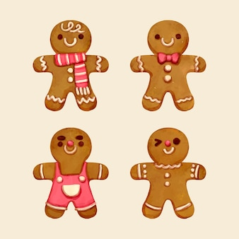 水彩ジンジャーブレッドマンクッキーコレクション