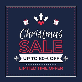 Красочная рождественская распродажа в плоском дизайне