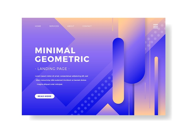 最小限のダブルトーン幾何学的なランディングページ