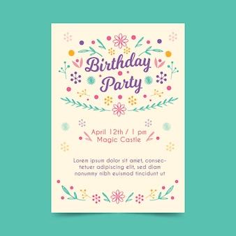 Шаблон приглашения на день рождения с цветами