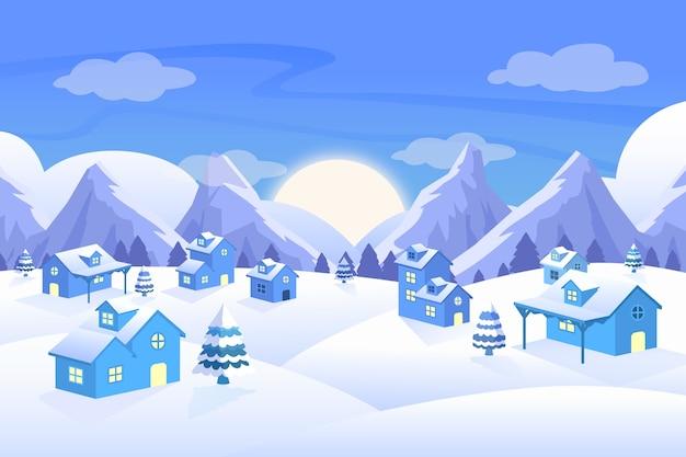 Плоский дизайн концепции зимнего пейзажа
