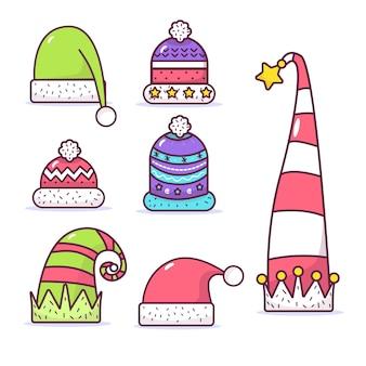 Коллекция шляп санта-клауса в плоском дизайне