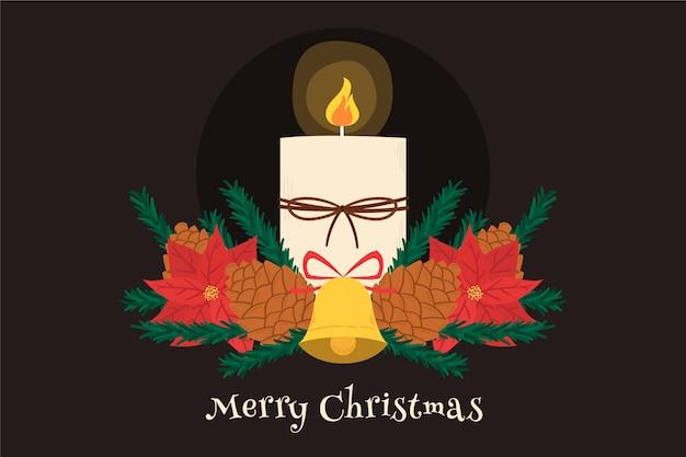 Ручной обращается рождественские свечи фон