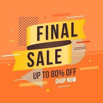 Продажа этикетки с оранжевым абстрактного фона
