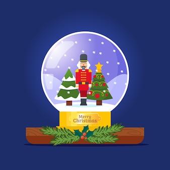 手描きクリスマス雪玉グローブ
