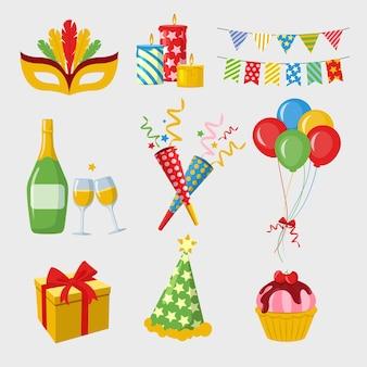 フラットなデザインの新年パーティー要素のコレクション