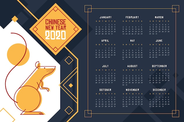 Китайский новогодний календарь в синих темных тонах