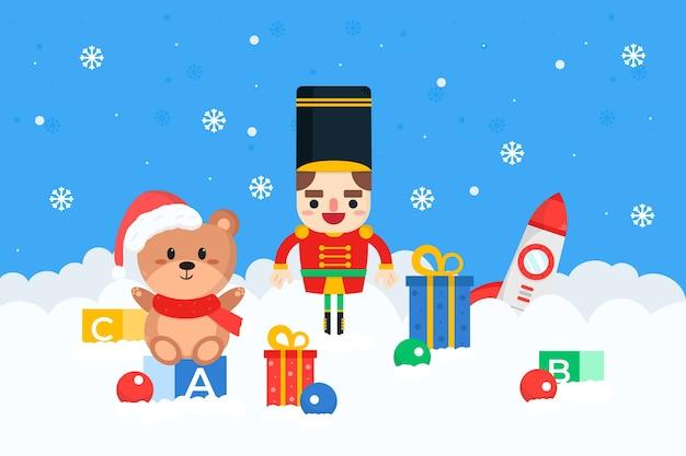 フラットなデザインのクリスマスのおもちゃの背景