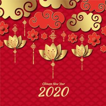 Фон китайский новый год в бумажном стиле