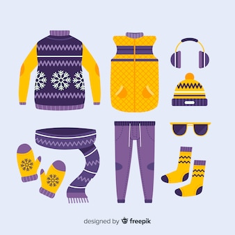 冬の日のフラットなデザインの服のアイデア