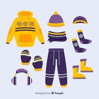 黄色と紫の冬の日の服装のアイデア