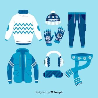 Идеи нарядов для зимних дней плоский дизайн