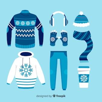 青い色合いの冬の日の服装のアイデア