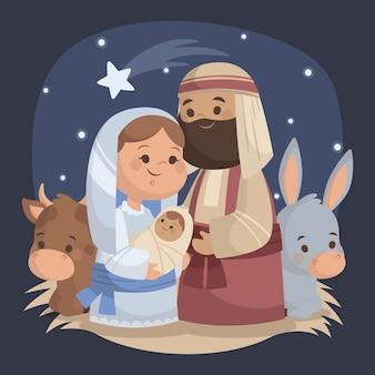 フラットなデザインイラストのキリスト降誕のシーン