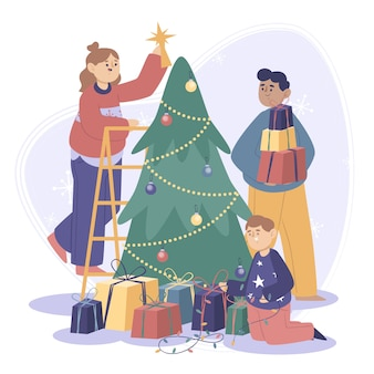 フラットなデザインのクリスマス家族シーンイラスト