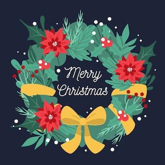 Плоский дизайн рождественский венок фон