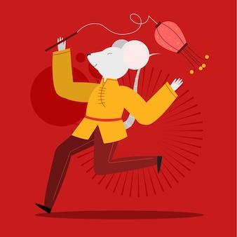 Танцующая белая крыса на красном новогоднем фоне