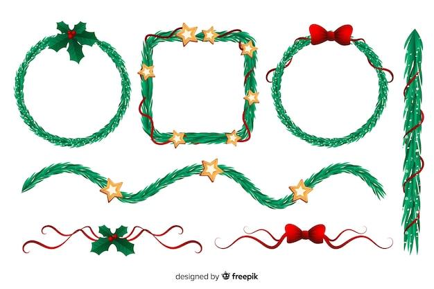 Плоский дизайн рождественские рамки и границы установлены