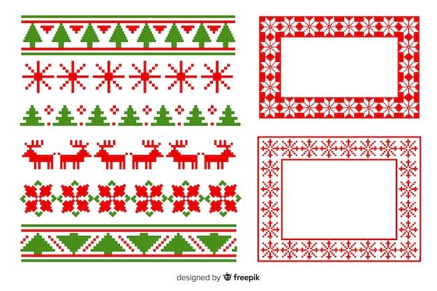 フラットなデザインのクリスマスフレームとボーダーパック
