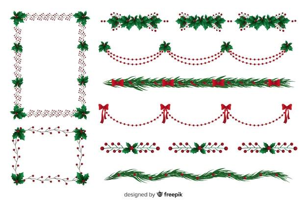 フラットなデザインコレクションクリスマスフレームとボーダー