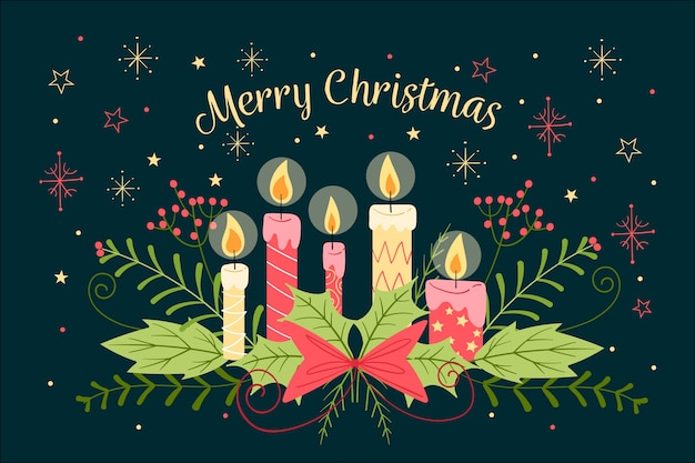 Обои рисованной рождественские свечи