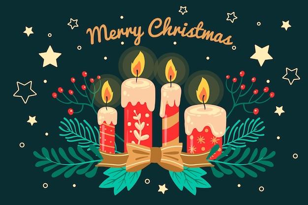 手描きの背景クリスマスキャンドル