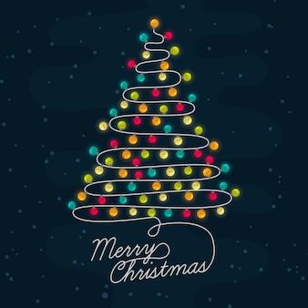 電球で作られた背景クリスマスツリー