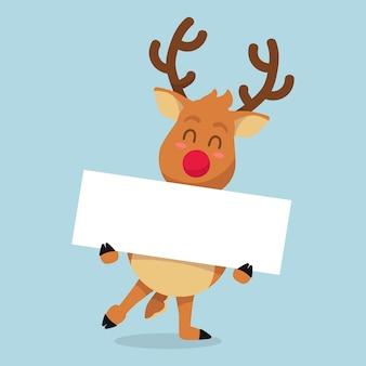 Рождественский олень держит пустой баннер шаблон