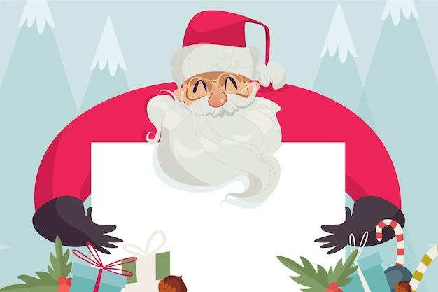 白紙の横断幕を持ってクリスマスサンタクロース