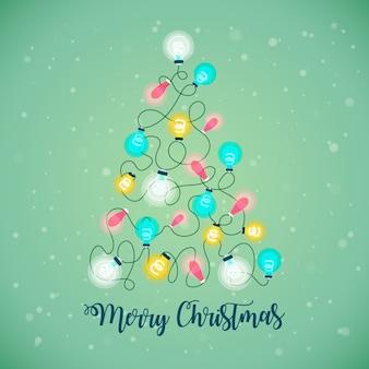 電球イラストのクリスマスツリー