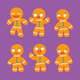 フラットなデザインのジンジャーブレッドマンクッキーセット