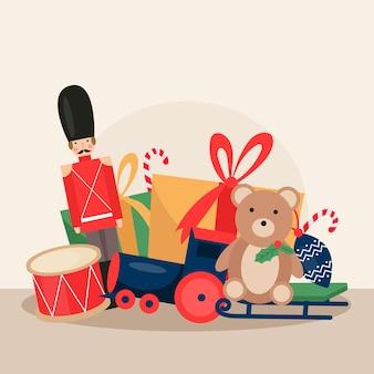 フラットなデザインのイラストのクリスマスのおもちゃ