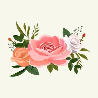 バラの花の花束アレンジメント