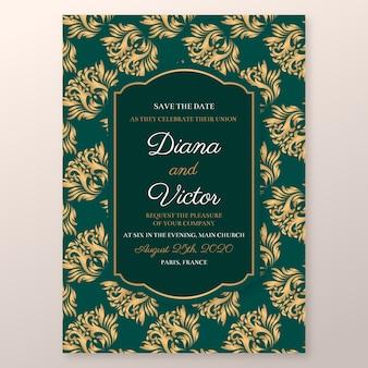 絶妙なダマスク織の結婚式の招待状のテンプレート