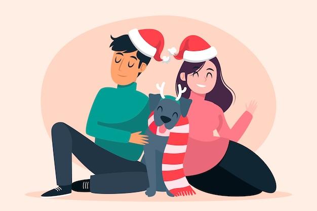 Рождественская семейная сцена в рисованной концепции