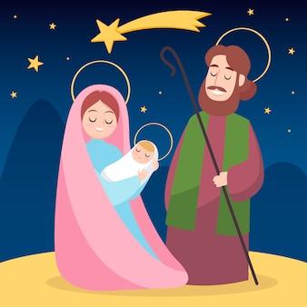Концепция сцены рождества в рисованной