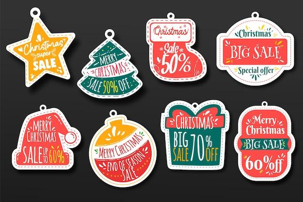 手描きクリスマスセールタグコレクション