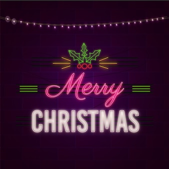 С рождеством христовым концепция с неоновым дизайном