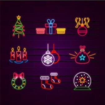 Неоновая рождественская коллекция элементов
