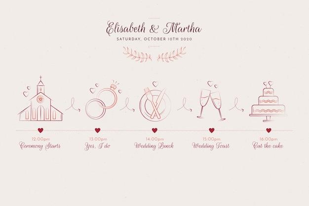 スケッチスタイルの手描きの結婚式のタイムライン