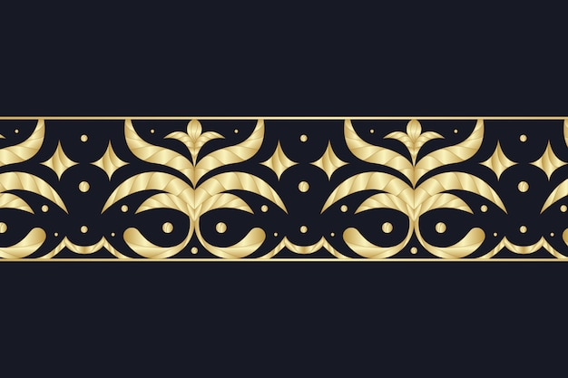 Золотая декоративная кайма на темном фоне