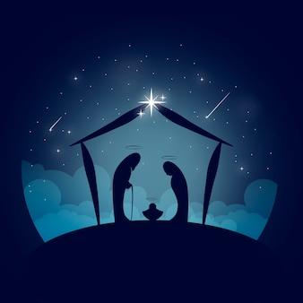 抽象的なキリスト降誕のシーンのコンセプト