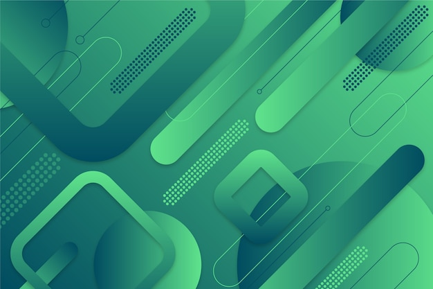 さまざまな形で緑の抽象的な背景