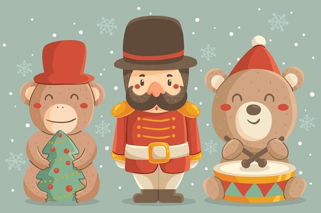 手描きのクリスマスおもちゃコンセプト