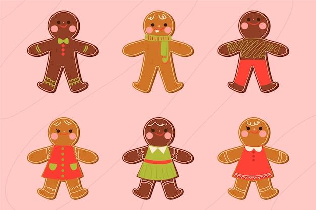 手描きジンジャーブレッドマンクッキーコレクション