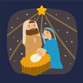 手描きのキリスト降誕シーンのコンセプト