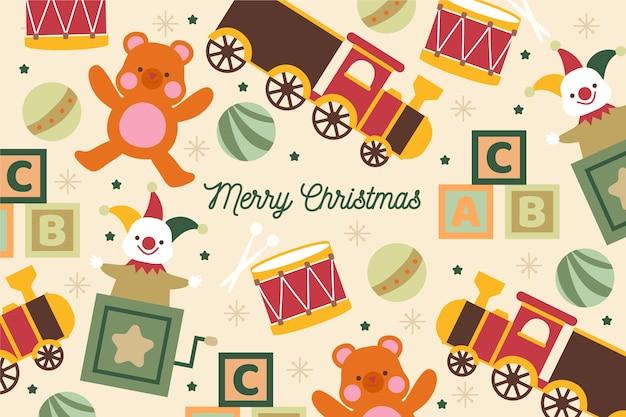 手描きのクリスマスおもちゃの背景